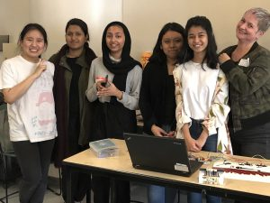 Agnes shows her pride with FabLab girls